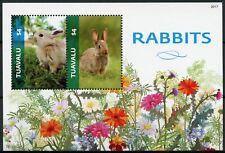More details for tuvalu domestic animals stamps 2020 mnh rabbits rabbit pets flowers 2v s/s