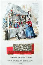 Jouets Anciens: MARCHANDE de JOUETS sous LOUIS XIII - Gravure couleur 19eme