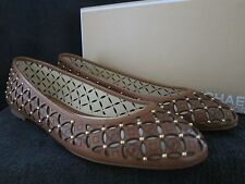 MICHAEL KORS Womans Gabriella Luggage Studded Leather Ballet Flats Shoes 8 M NWB