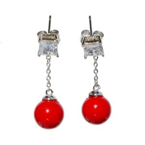 Fashion White Gold Plated Cubic Zirconia Agate Handmade Earrings
