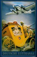 Alemán Lufthansa DILIGENCIA LETRERO DE METAL EN RELIEVE 20 x 30cm #