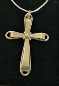Large Vintage 835 Silver cross and sterling silver chain