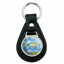 Animals of the World Continents Atlas Globe Pattern Black Leather Keychain