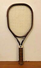 Wilson Aggressor Racquetball Racket Brown Rectangular Face Leather Grip !