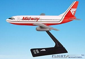 Midway (84-93) Boeing 737-200 Airplane Miniature Model Plastic Snap Fit 1:180