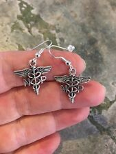 NP Earrings Dangle Wire Hook Silver Alloy Nurse Practitioner Health Care Medical