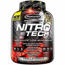 MuscleTech NitroTech Whey Protein Powder, Whey Isolate and Peptides, Vanilla, 4