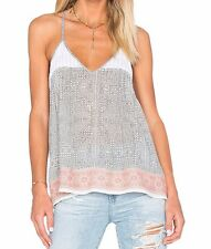 NWT $198 Joie Leif Embroidered Tank in Stone Grey & Sunset; XS