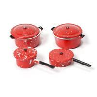 Miniatur Puppenhaus 4 Stücke Metall Pan Suppe Topf Geschirr 2 Farben 1:12 S P0S1