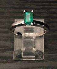 Colombian Emerald Designer Jabel .46 Carat Engagement Ring 18 Karat White Gold