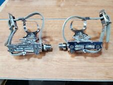 Vintage Shimano 600 Road Bike Pedals Set  w/ Toe Clips
