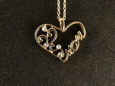 Anhänger 24 Karat Gold Herz MOM Strass Muttertag Geschenk Halskette
