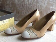 BALLY 'PILINA' Vintage 3 Tone Beige Court Shoes Size 4.5 UK.