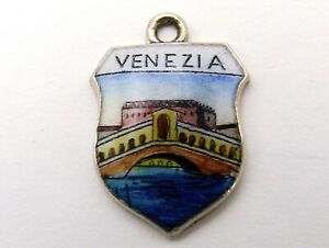 Venezia Venice Italy Rialto Bridge vintage silver and enamel travel place charm