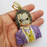 """Hip-Hop Men's 18K Gold Plated CZ Cartoon Clown Jester Pendant Chain Necklace 24"""""""
