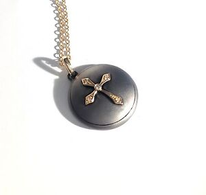 Diamond Accent Cross 14k Yellow Gold on Matte Sterling Silver 925 Disc w/ Chain