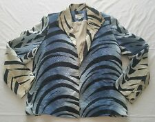 EUC Yolanda Lorente Hand Painted 100% Silk Jacket Blazer Med Blue Zebra Stripe