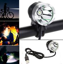 USB 2000LM CREE XML-T6 LED Headlamp Headlight Bike Bicycle Torch Light Strobe