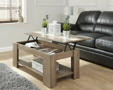 Lift Up Modern Coffee Table Storage in Walnut Espresso White or Oak Cool Unique