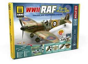 MIG AMMO 7722 WWII RAF EARLY COMPLETE PAINTING & WEATHERING SET WITH GUIDE BOOK