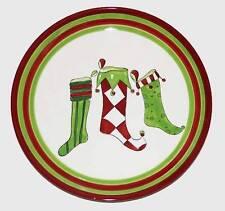 "ELF STOCKINGS in Stripes Argyle Polka Dots 14-1/4"" Christmas Ceramic Platter"