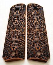 Colt 1911 custom engraved cherry wood grips Aztec Calendar