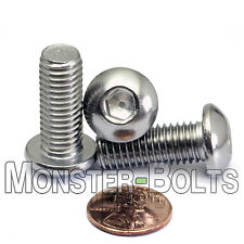 10mm x 1.50 x 25mm - Qty 10 - A2 Stainless Steel BUTTON HEAD Screws M10-1.5 x 25