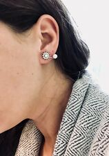 Womens Earrings Crystal CZ Climber Pearl US Fashion Jewelry Silver Jacket 1pair