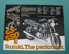 Suzuki Motorcycle Dealer Sales Preview Brochure GS550 GS550E 1979 Two Sheets