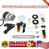 450W 36V Electric Conversion Twist Kit for Common Bike Left Chain Drive Custom