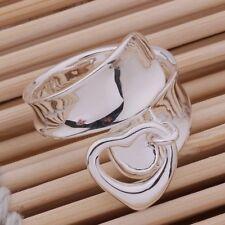 Ciondolo Cuore Grosso anello dito pollice regolabile 925 Argento Sterling Banda Wrap