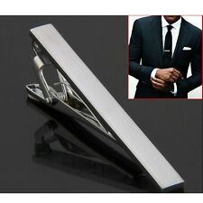 Wedding Party Skinny Tie Clip Pin Metal Silver Tone Fashion Mens Clasp Bar 54mm
