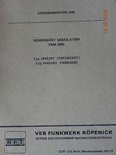 KBM 1300, Bediengerät Modulation, Erzeugnisunterlage   RFT / Funkwerk Köpenick