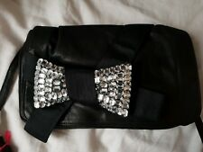 SEE BY CHLOE BOW CRYSTALS SMALL BLACK CROSSBODY LEATHER BAG