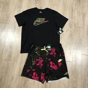 FULL SET Nike NSW Pink Limeade Shirt + Shorts CK0151 010 Black Floral Mens XL