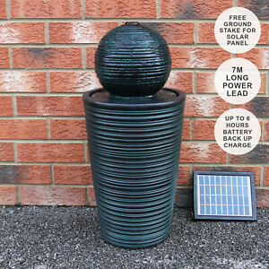 Water Feature Fountain Solar Powered Outdoor Garden Black Standing Ball Patio
