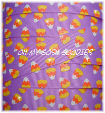 7/8 Glitter Candy Corn Halloween Grosgrain Ribbon 4 Hairbow Bow Orchid