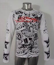 Ed Hardy death before dishonor men's long sleeve t-shirt white M