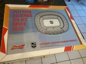 Budweiser LA Kings 3 dimensional beer bar mirror 3d RARE display mancave 21x27