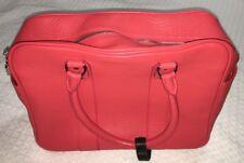 ALAIN MIKLI Watermelon Red Pink Leather Locking Satchel Bag Purse Handbag-NEW