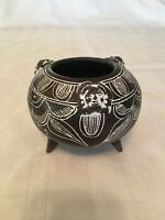 Small Three Footed Black Pottery Bowl With White Designs Pre-owned Chipped Foot