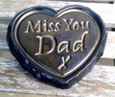 Miss You Dad - Black & Gold ENGRAVED STONE Heart Memorial Plaque Garden Grave