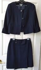 Navy Blue Ann Taylor Skirt Suit with Front Pleats and Chanel Collar Size 4