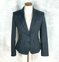 Banana Republic Womens Solid Black Cotton Blend Blazer Jacket sz 2