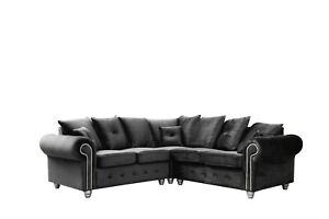 BRAND NEW OLYMPIA SOFAS 3+2 SUITE OR CORNER 5 SEATER BLACK VELVET  FAST DELIVERY