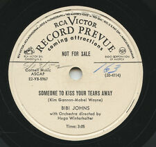 Rare Pop 78 - Bibi Johns - Someone To Kiss Your Tears Away - RCA Victor - Promo