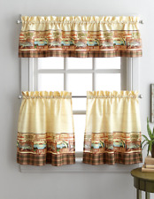 Fishing Lodge 36L Tier and Valance Kitchen Curtain Set Lake Fisherman Cabin