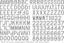Raf Letras y Números 1946 Estilo Gris 40.6cm (1/48 Adhesivos Fantasy Printshop