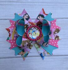 Handmade Pink Blue Princesses / Princess Stacked Boutique Hair Bow