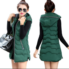 Ladies Winter Down Cotton Sleeveless Jacket Warm Hooded Waistcoat Vest Padded D
